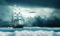 Sailing ship creaking in wind