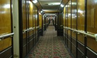 In a passageway near the engine of a cruise ship